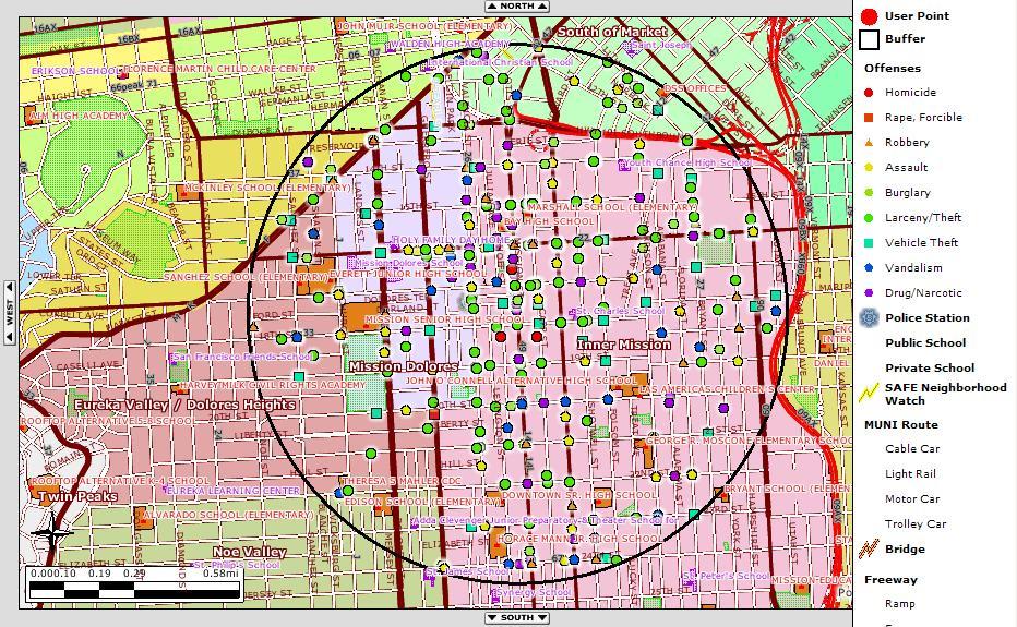 SF Crime Map of my Neighborhood, past 30�days