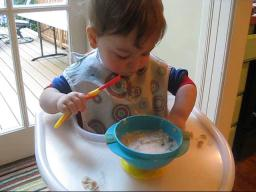 Avi Eating with a Spoon